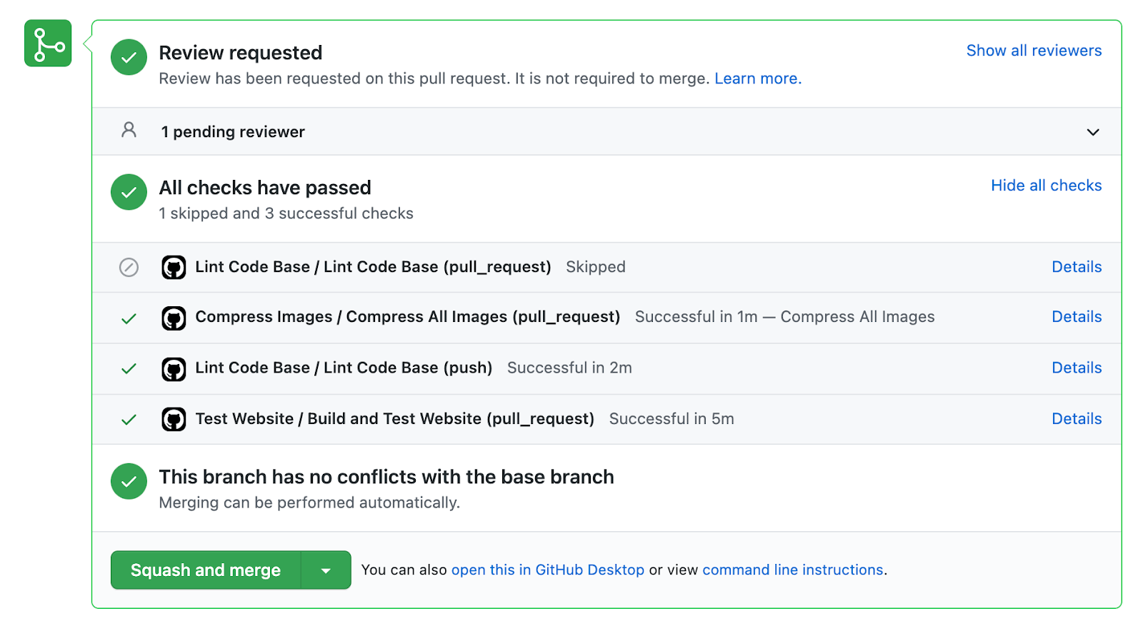 GitHub Pull Request test screenshot showing 'all tests have passed'