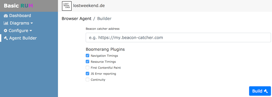 Boomerang JS agent builder interface