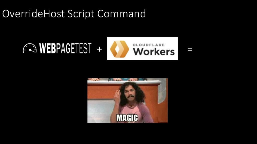 With the OverrideHost script command WebPageTest + Cloudflare Workers = magic