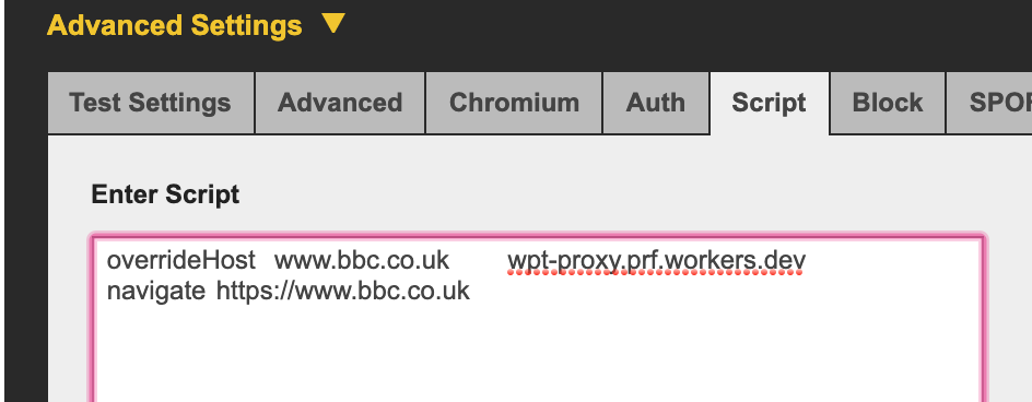 Override the bbc.co.uk domain to wpt-proxy.prf.workers.dev