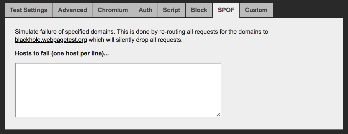 spof section in webpagetest