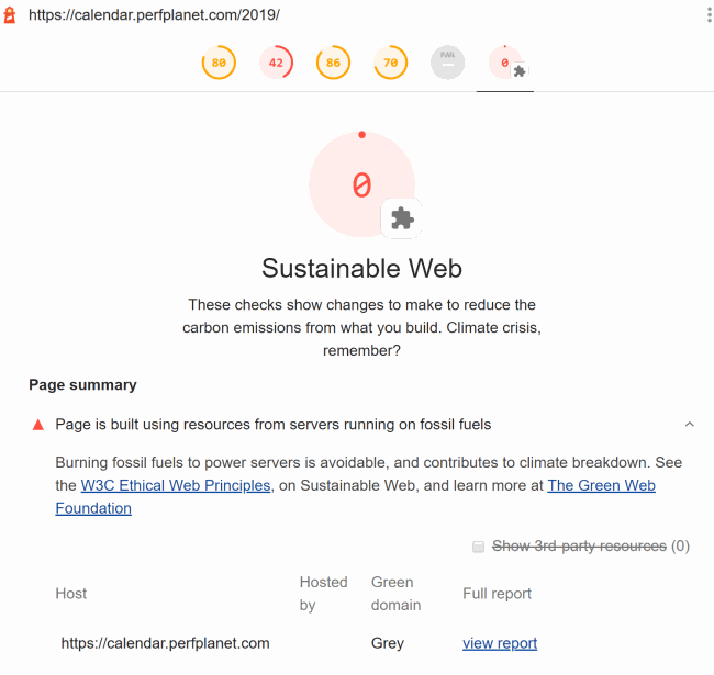 Sustainable Web lighthouse score using custom WPT agent