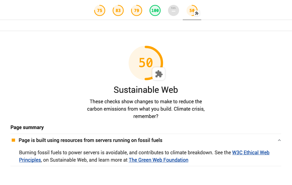 Sustainable Web lighthouse plugin result